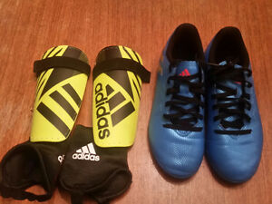 Adidas indoor Cleats and Shin Pads