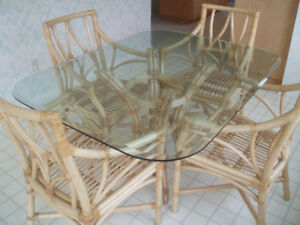 Table & Chairs - (Rattan)