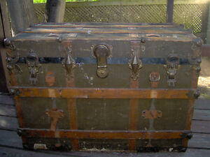 Antique Steamer Trunk or chest with wood slats