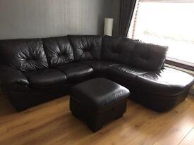 Corner sofa, recliner chair plus storage pouffe