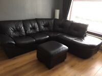 Corner sofa, recliner chair plus storage pouffe