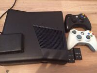 Xbox 360 slim 254gb 2 controllers and game swap bike