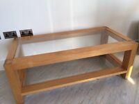 Solid Oak Coffee Table with two glass shelves