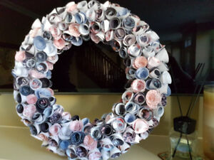 Rolled Paper Rose Wreath--Blue & Pink