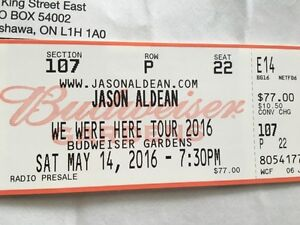 SELLING : Jason Aldean tickets May 14th Budwesier Gardens