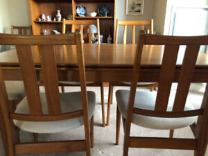 Mid-century teak dining room table and chairs