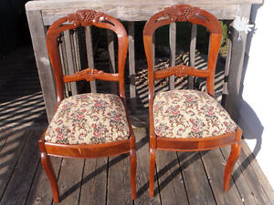 Pair of Vintage Upholstered Wooden Chairs
