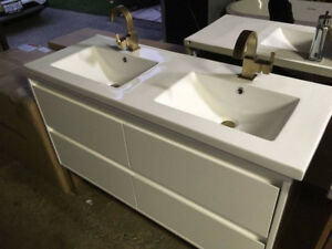 "Alex 48"" Vanity, Faucet, Counter top - w/ LED lights!"