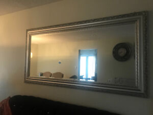 Large rectangular thick silver framed wall mirror!