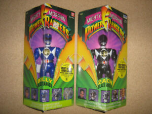 MIGHTY MORPHIN POWER RANGERS BLUE AND BLACK 8 INCH FIGURES