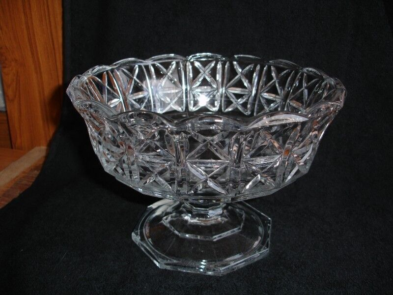 Vintage Italian  Clear Glass Footed Bowl