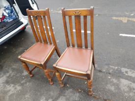 Antique 1920s'1930s solid oak chairs
