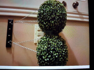 Two green plant ball decors