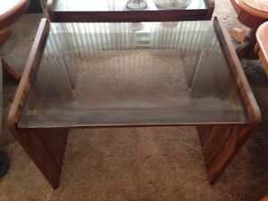 Set of glass top end tables