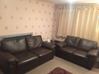 3 Seater & 2 Seater Leather Look Settees
