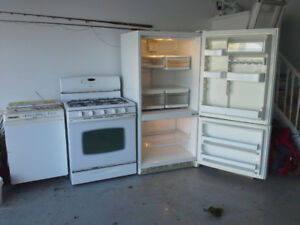 Kitchen Aid Fridge and Mofat Gas Stove for Sale   $200 each.