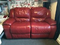 Red leather, electric reclining sofa
