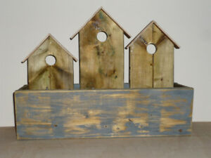 Mock Birdhouse wooden Planter : Outdoors or Indoors