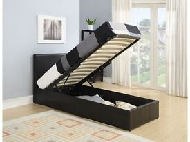single leather bed with storage or with out storage available in black white and brown colour