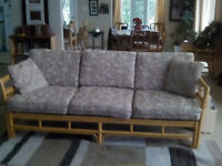 7 Piece Rattan Sofa, Chairs, Coffee and End Table