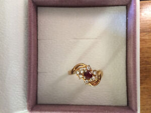 Vintage Faux Ruby/Diamond Ring
