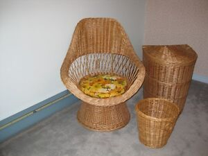 Wicker Chair, Laundry Basket and Basket