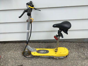 Yellow Firefly Motorized Electric Scooter with Seat