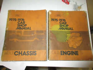 1975 FORD CAR SHOP MANUAL VOLUMES #1 CHASSIS & #2 ENGINE