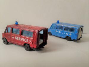 2 Vintage Mercedes Police Vans 1980s