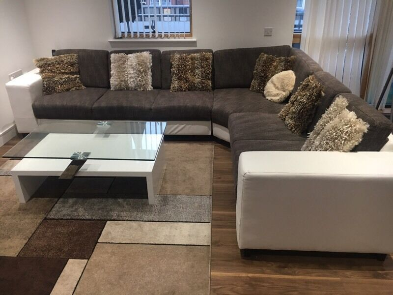 7 seather corner sofa with leather and fabric