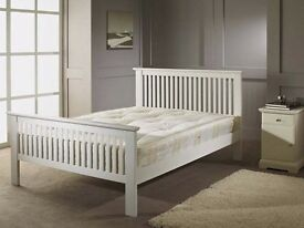 Brand New Luxury White Wooden Double Bed with Luxury Memory Foam Sprung Cooling Mattress.