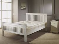 x2 Brand New Luxury White Wooden Double Beds (Was £320 Now £150 Inclusive of delivery)