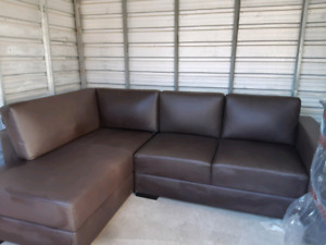 Brown leather couch with chaise