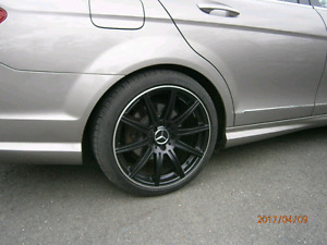 """18"""" staggered  rims and Pirelli tires"""