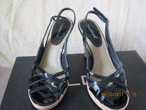 Madeline Black Patent Leather Sandal - Very good condition.