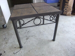metal and tile square end table
