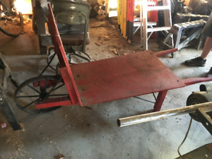 antique iron and wooden wheelbarrow for sale