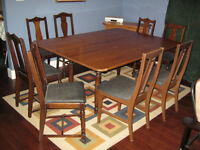 Solid Wood Dining Table & 8 Chairs