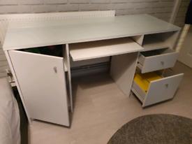 Glass Top White Desk