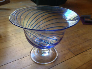 Serving Bowl with blue swirls