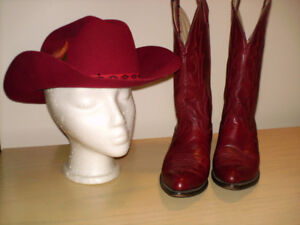 Ladies red leather cowboy boots and felt hat