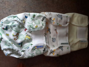 Mother ease waterproof diaper covers in 2 styles.