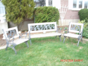 Bench / 2 chairs / end table frames only