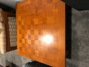 Teak Checkerboard End Table