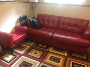 MOVING MUST SELL  tufted Red Hide a Bed Plether Couch and Chair