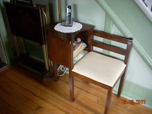 antique telephone bench with lamp