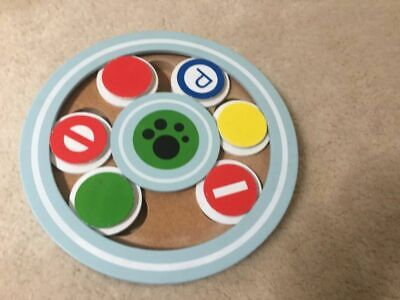 Interactive Dog Treat toy game Wood round discs hide a treat