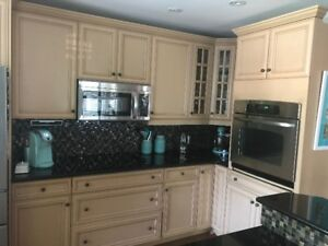 Kitchen cupboards and Island  with /granite top