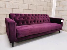 Purple Velvet Button Back Chesterfield Style 3 Seater Sofa