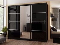 **7-DAY MONEY BACK GUARANTEE!** 3 Door Luxury Sliding Wardrobe with Mirror - SAME/NEXT DAY DELIVERY!